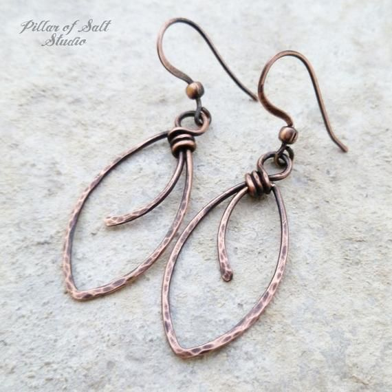 Photo of Hammered copper Wire wrapped earrings – wire wrapped jewelry handmade Wire jewelry – Marquis shape Solid copper earrings earthy rustic boho
