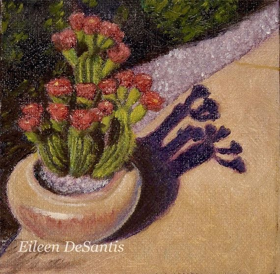 Original oil painting of potted cactus with pink by EileenDeSantis