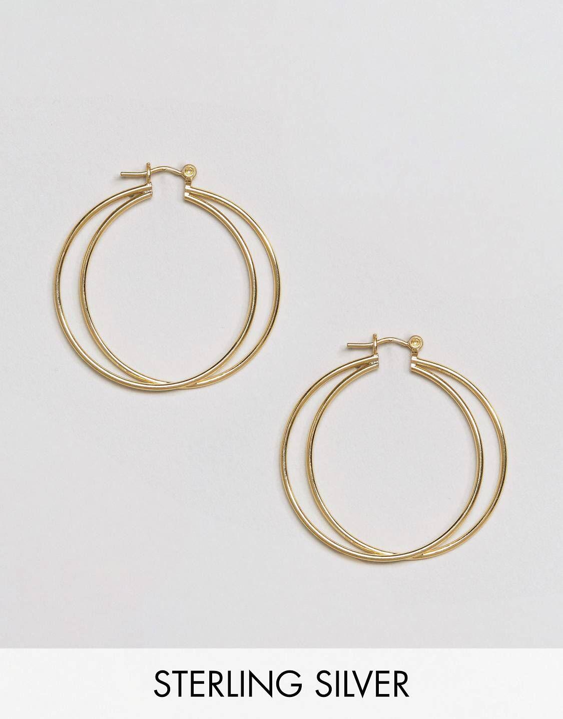 DESIGN Thick Double Row Hoop Earrings - Gold Asos I39zVWg7