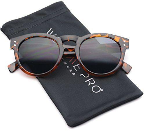 9a224d3badaa8 Vintage Inspired Mirror Lens Round Horned Rim Frame Retro Sunglasses ...