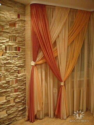 sharp bathroom window coverings | These curtains, layered over a pair of sheer panels, are ...