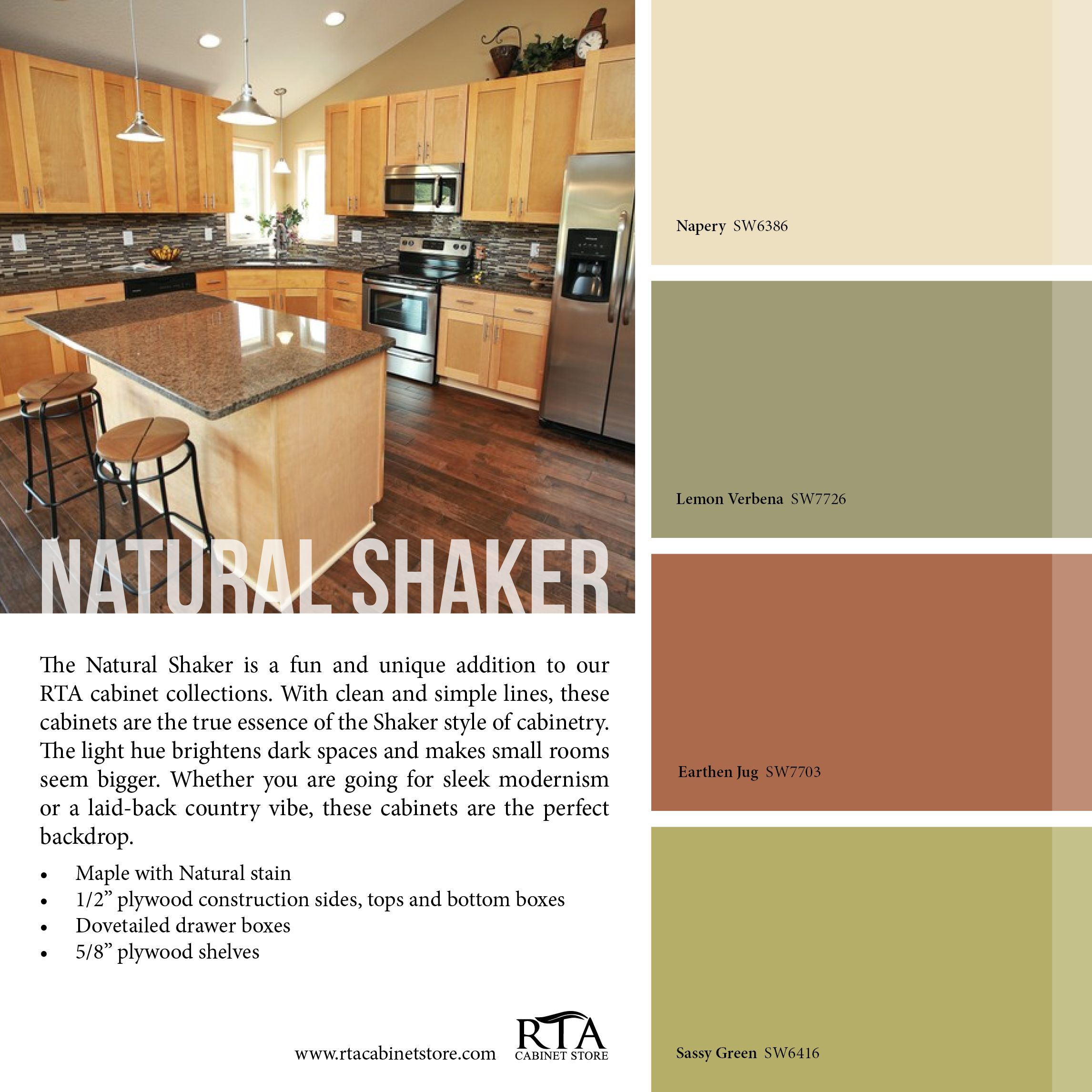 Color Palette to go with our Natural Shaker kitchen cabinet line ...