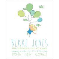 Life is Peachy Personalised Birth Print - Flying Boy $28.00 www.mamadoo.com.au #lifeispeachy #mamadoo #keepsakes