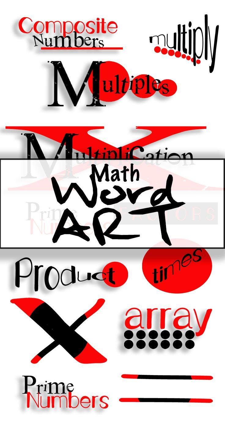 math clip art: multiplication word art: 300dpi | clip art & graphics