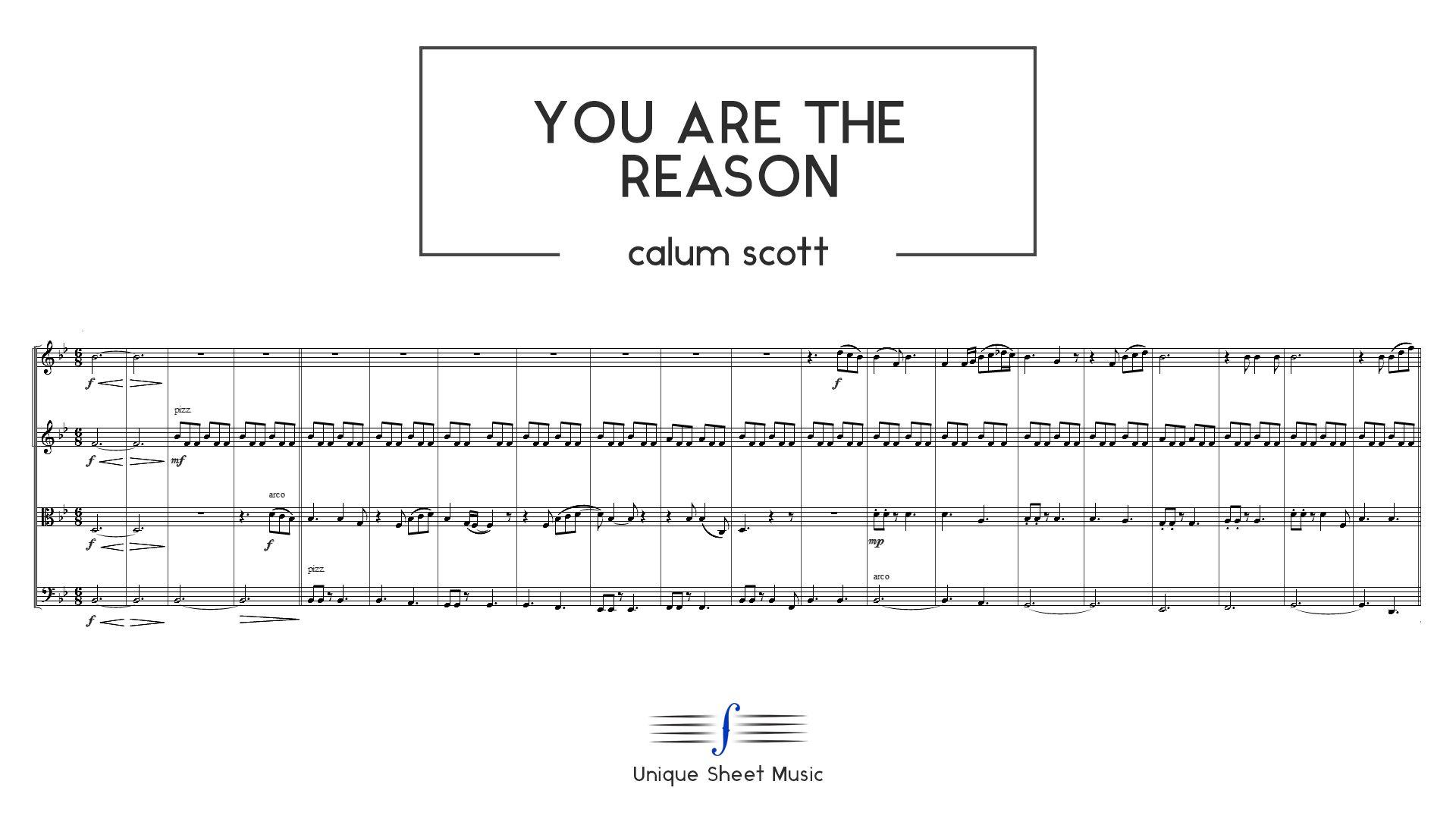You Are The Reason - Calum Scott | String Quartet Sheet
