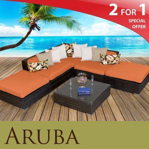 Aruba Outdoor Wicker Patio 6 Piece Set Tangerine Free Extra Cover