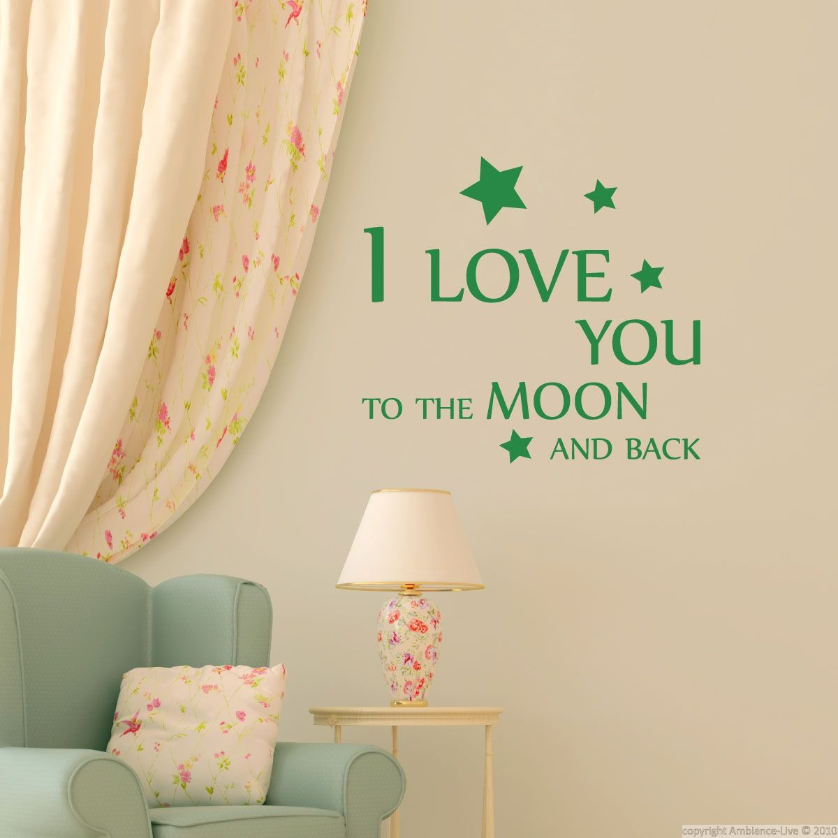 stickers muraux citations sticker aimez vous la lune ambiance pinterest. Black Bedroom Furniture Sets. Home Design Ideas