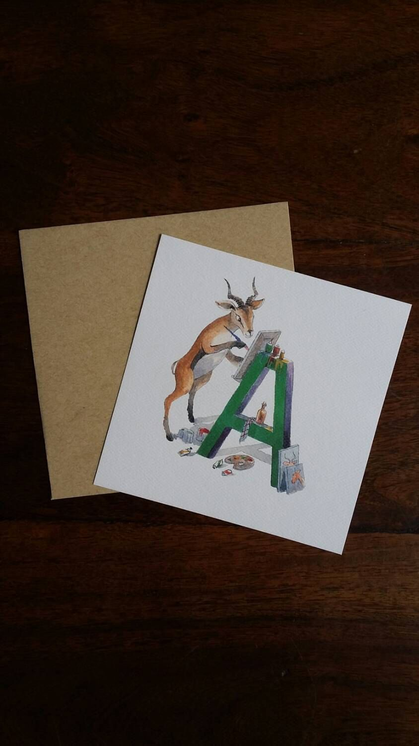 Abc Cards Alphabet Cards Letter A Antelope Card Nursery Decor Animal