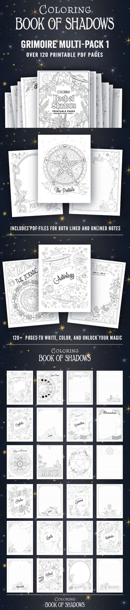 Printable Pages For Your Book Of Shadows Book Of Shadows Coloring Books Book Of Shadow