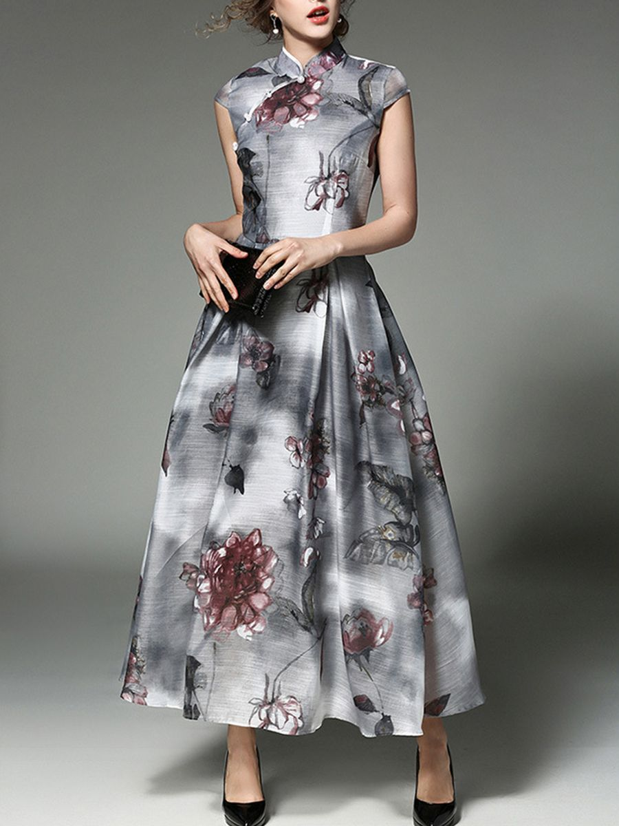 a1f338457a Summer Floral Printed Beading Band Collar Long Dress  floraldress   summerlongdress  fashionmiadress