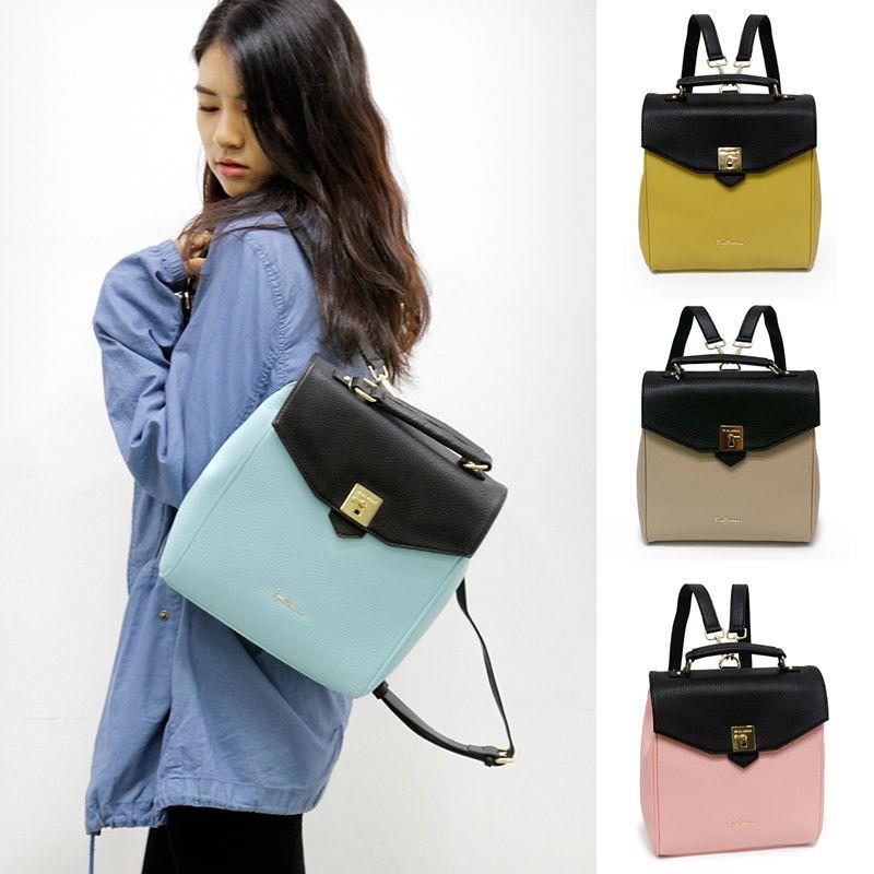 Korean Leather Backpack Designer- eBay