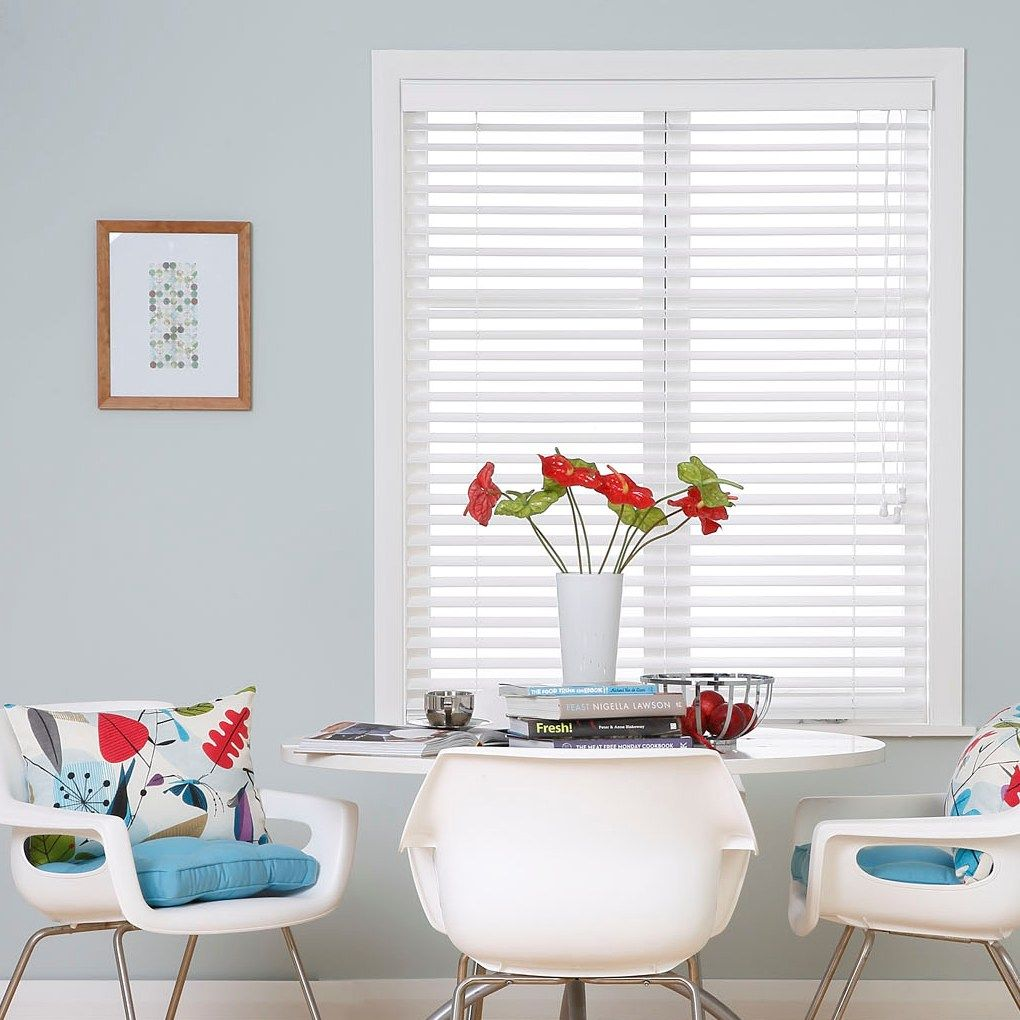 Ready Made White Wooden Venetian Blinds with Blue Button Chair Pads ...