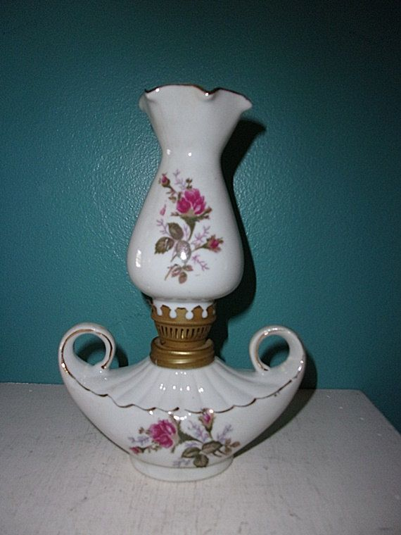 Vintage Ceramic Oil Lamp, Two Handles, White With Red Roses, Gold Trim, Fluted Chimney by junkblossoms2 on Etsy