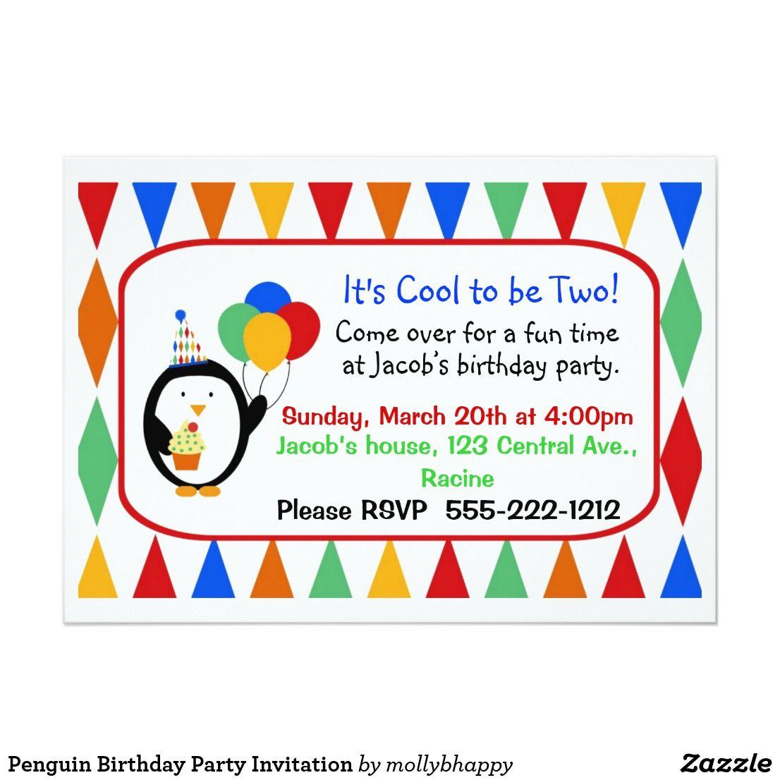 Penguin Birthday Party Invitation   Penguin birthday, Party ...