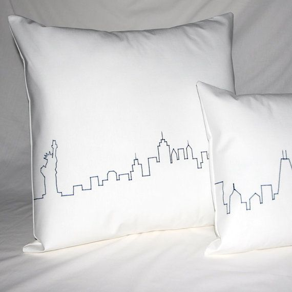 New york city skyline pillow cover statue of by curiolassidy 38 00