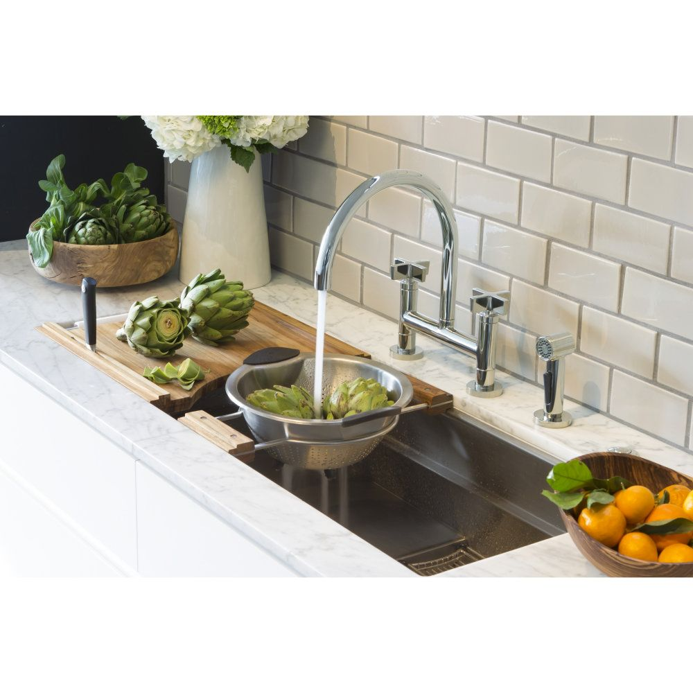 Kallista KAA-P25202-CR-CP One Polished Chrome Two Handle Bridge Kitchen Faucets  | eFaucets.com