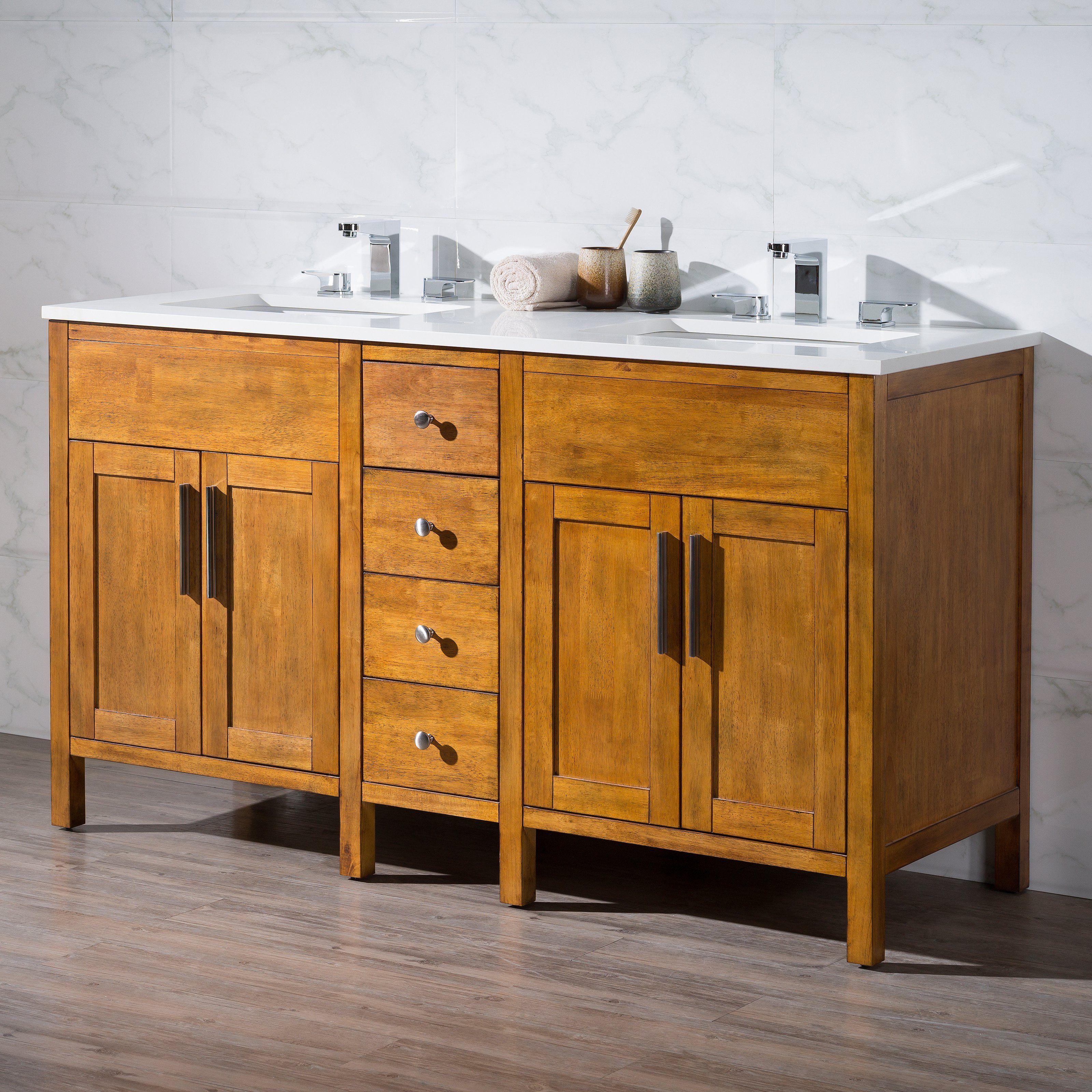 Stufurhome Evangeline 59 In Double Sink Bathroom Vanity Ty 6343