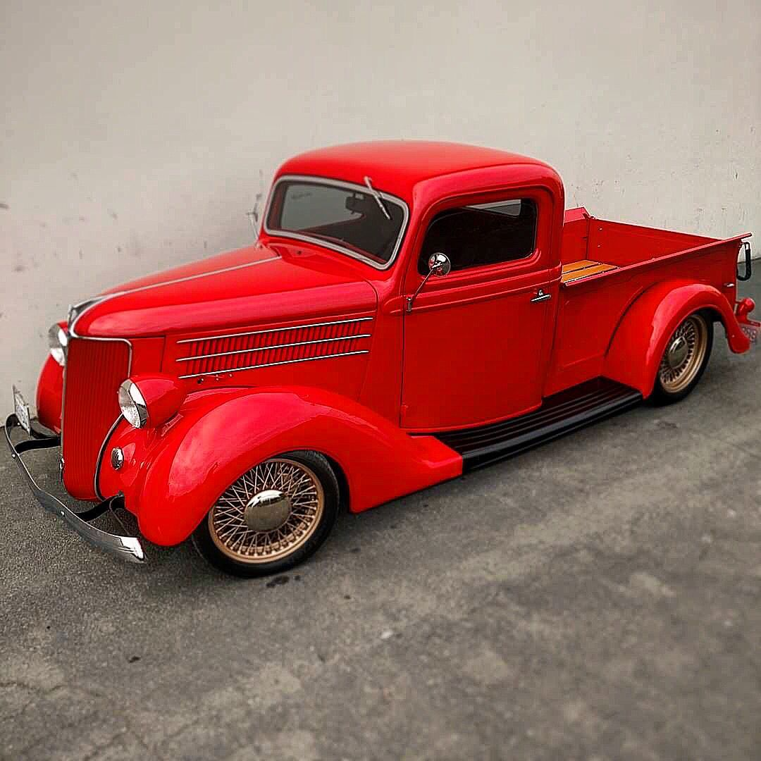 Just Finished Some Minor Paintwork On This 1936 Ford Pickup With Passenger Car Sheet Metal It Has A Turbo Volvo Dr Ford Pickup Ford Pickup Trucks Cool Trucks