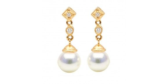 White Akoya Pearl and Diamond 'Royal' Dangle Earrings, Sizes: 8.5-9.5mm