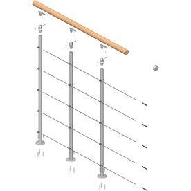 DOLLE Rome 3.5 Ft Gray Prefinished Beechwood Steel Stair Railing Kit
