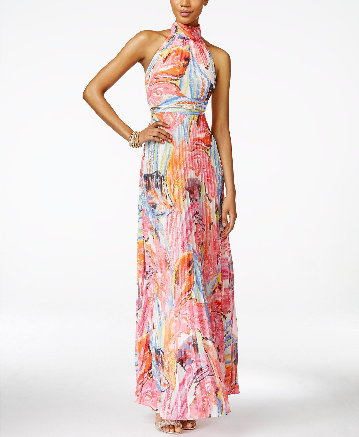 INC International Concepts Pleated Floral-Print Maxi Dress, Only ...