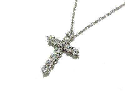 5975c40059a Auth TIFFANY   Co. Small Cross Pendant Pt950 Diamond Necklace (eBay Link)