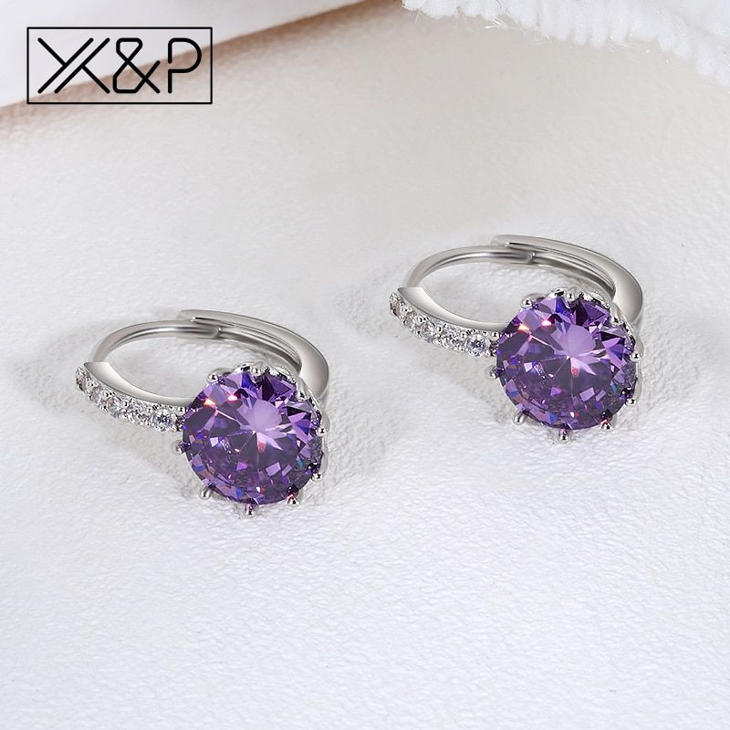 X P Fashion Charm Geometry Flower Stud Earrings for Women Girl Korean Style  Round Cubic Zircon Earring 74687cb48b07