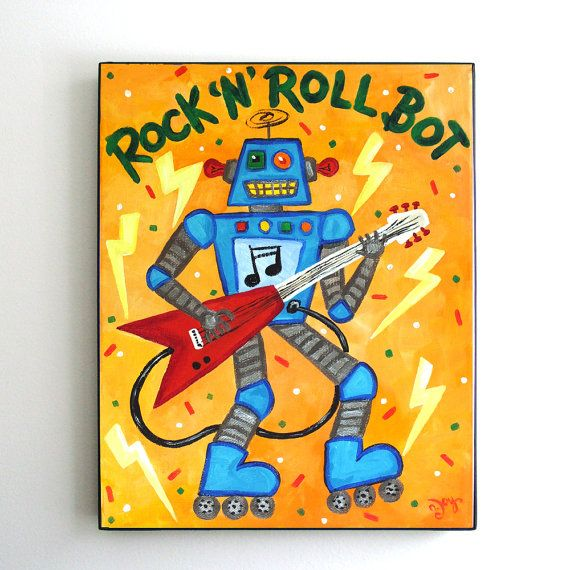 Framed Robot Art Print for Kids, Rock N Roll Bot, 8x10 inch print in ...