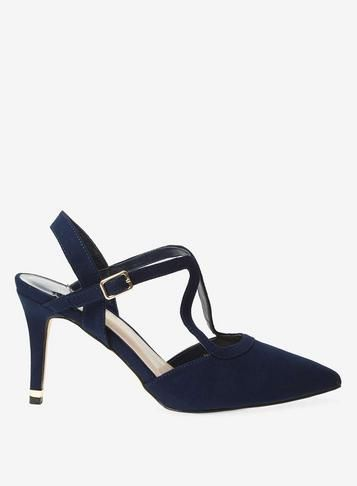 18b8674264d9 Wide Fit Navy 'Glow' Strappy Court Shoes | Products | Court shoes ...