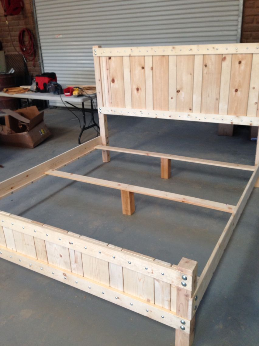 Pine king size bed frame for $100 in materials, and two days work ...