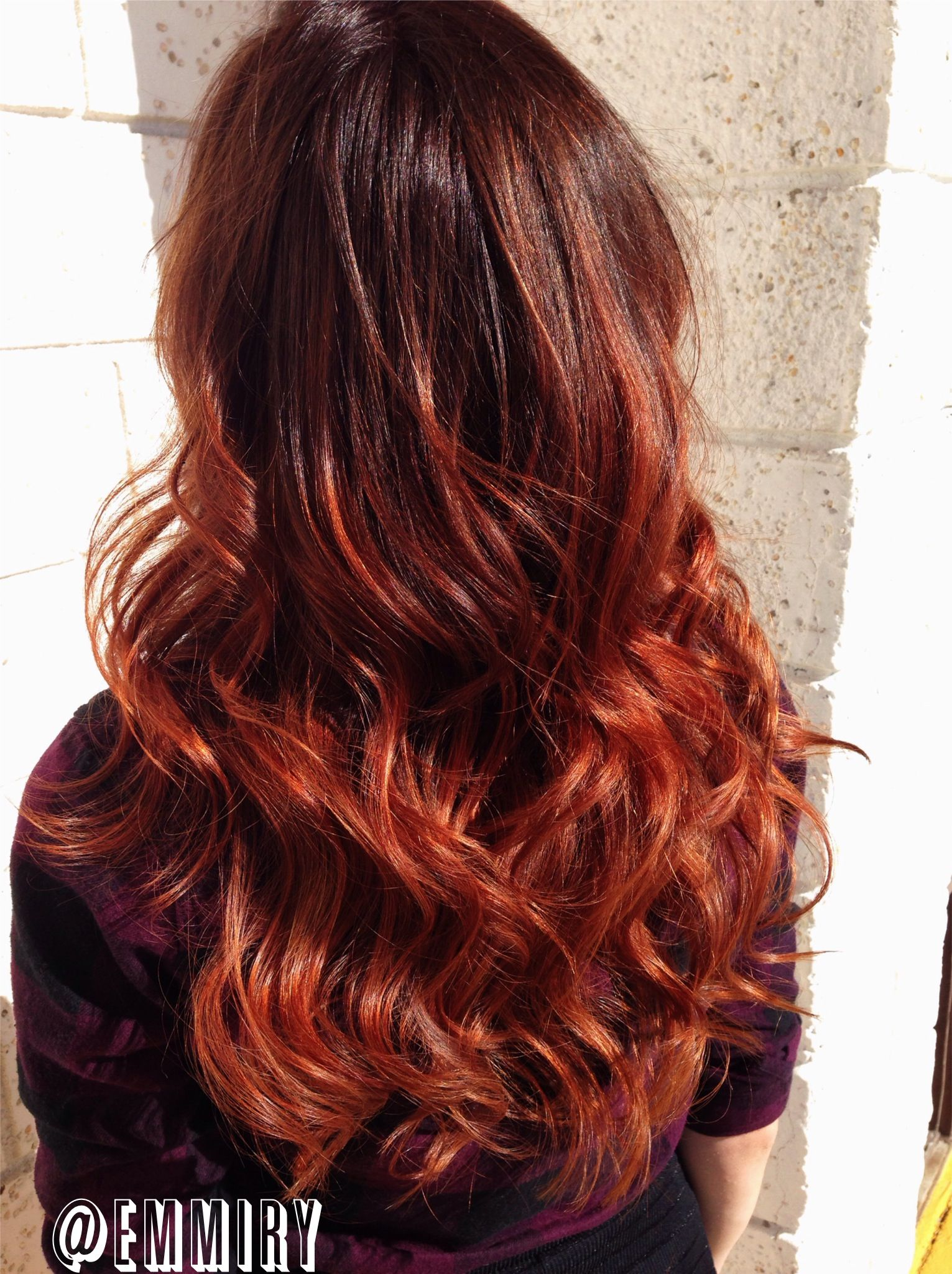Copper red ombre like the top shade as a starting point denenecek