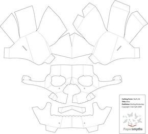picture about 3d Paper Mask Template Free Printable named 3D Paper Skull Template paper craft Paper mask, Mask