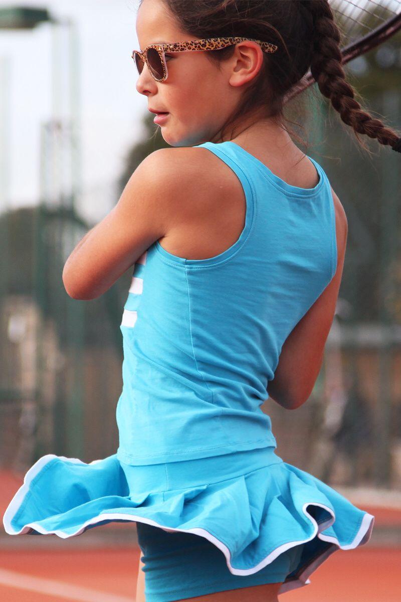 Tennis Vest Girls Aqua Blue Triband Full Pleated Skirt Outfit Tennis Vest Girl Aqua Blue Triband Full Pleated Tennis Clothes Pleated Skirt Outfit Kids Outfits