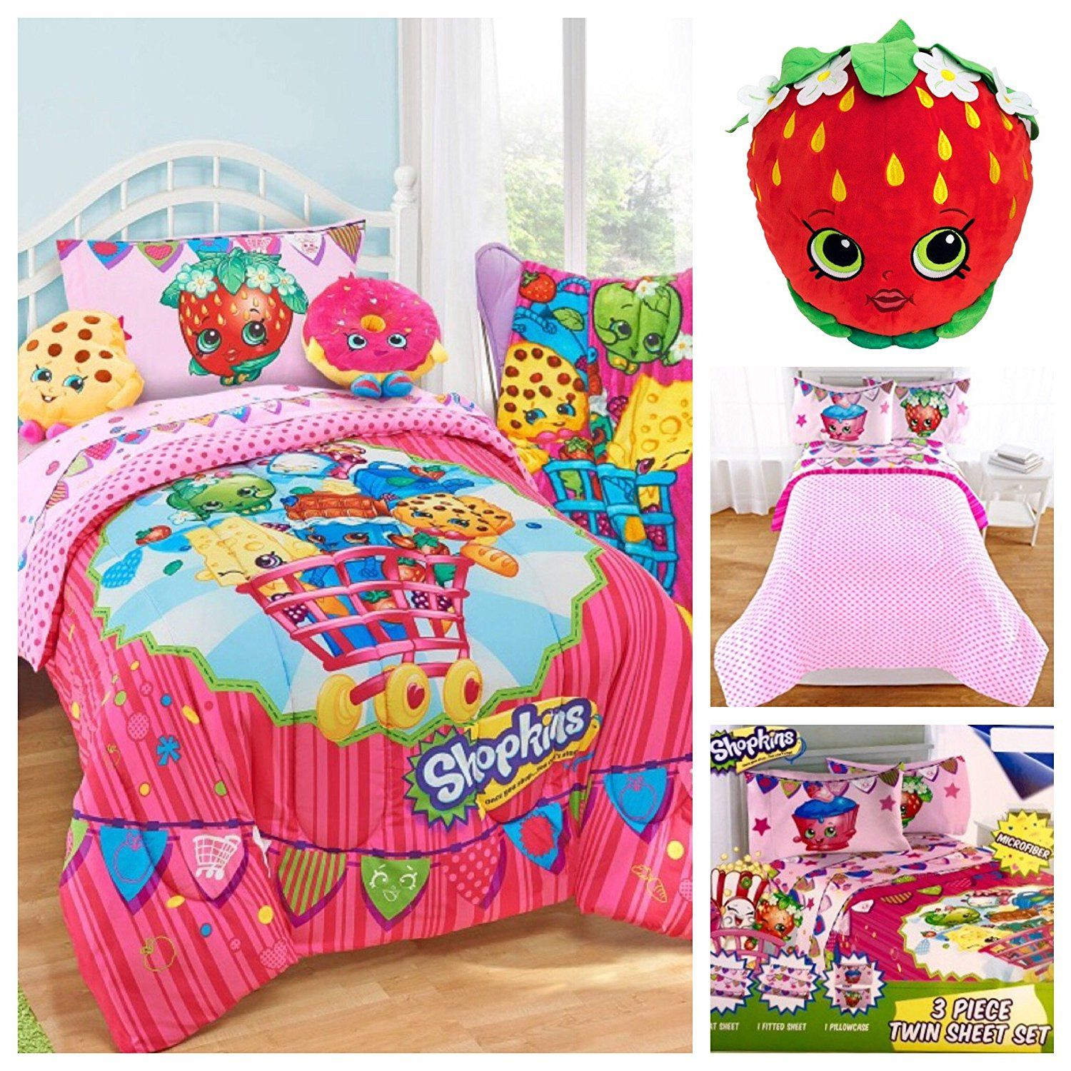 Shopkins Kids 5 Piece Bed in a Bag Twin Bedding Set ...