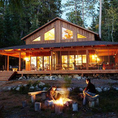 Log Home covered porch