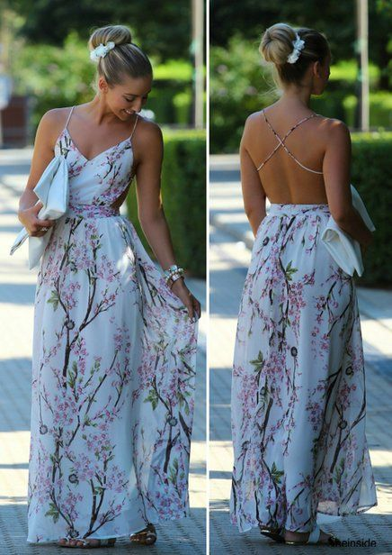 Vintage Sheet Maxi Dress Woowoo Backless Looks Like The Bodice Is In Two Pices And Is Basica Summer Wedding Outfits Backless Maxi Dresses Floral Maxi Dress