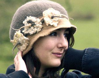 Designer Hat Felted Hat Cloche hat Felted Hat Art Hat Art BEAUTY wearable art Hat White hats Felt Retro hat handmade wearable art clothing