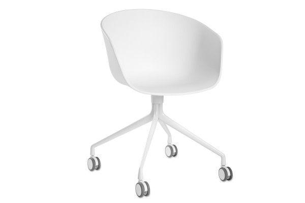 Aac24 Hay Chaise Bureau Blanc Roulettes Dossier Arrondi