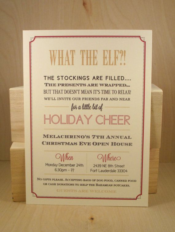 What the Elf Fun Holiday Cheer Party Invitation Border – Christmas Party Poem Invitation