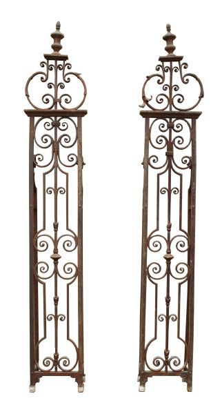 Pair Of Georgian Wrought And Cast Iron Gate Post Piers With