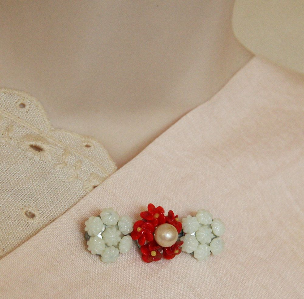 Us czech white u red glass flower brooch extras pinterest