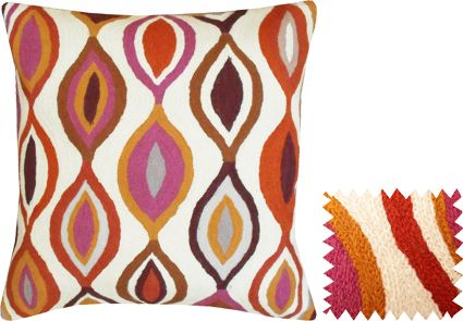 Bright Chain Stitch Embroidery Pillow