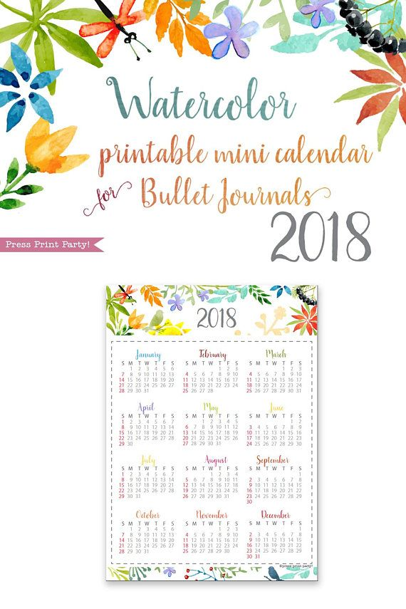 2018 Mini Calendar for Bullet Journals  Planners Printable Yearly