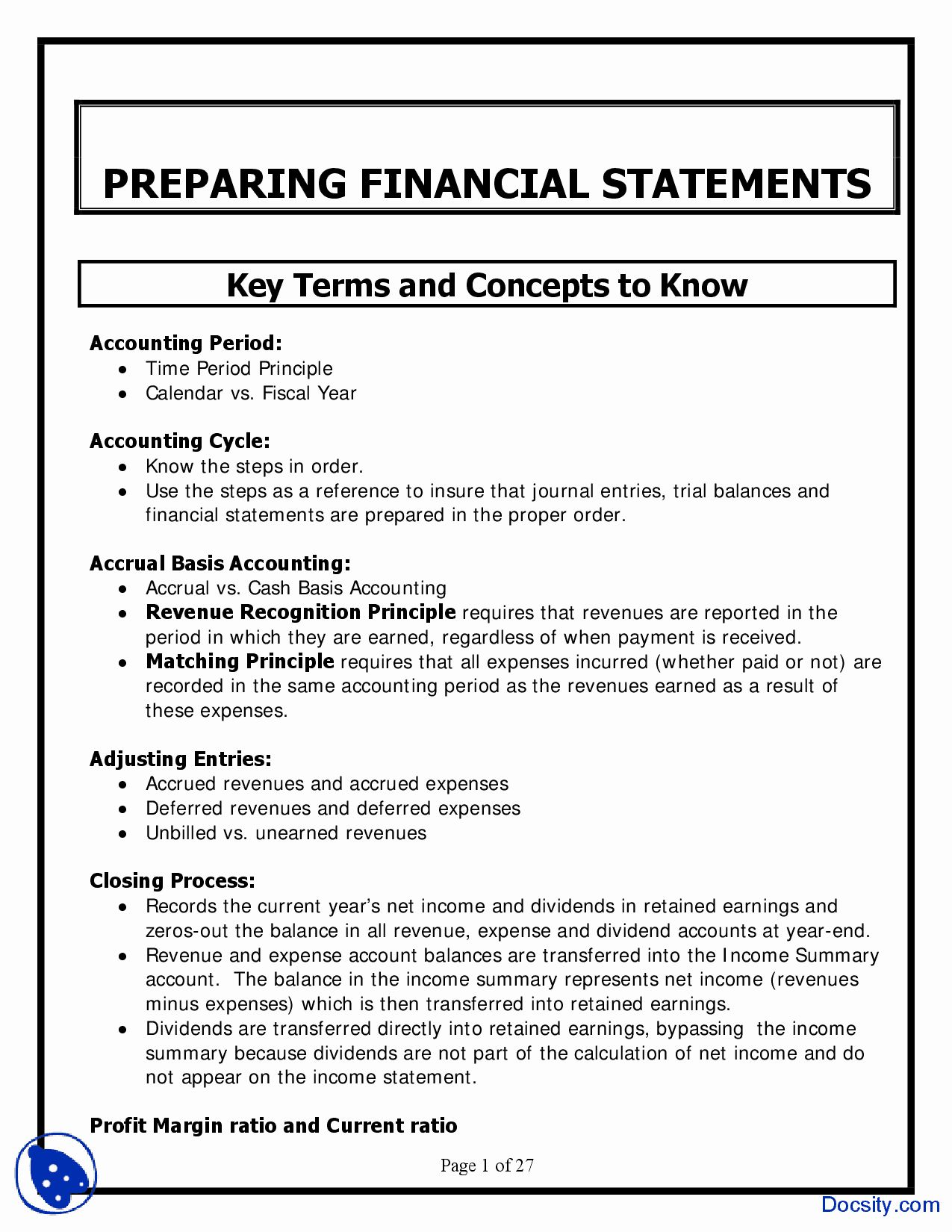 Order Of Preparing Financial Statements In