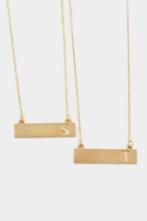 """Don't miss out on these precious initial cutout plate pendant necklaces!  - Charm : Approx. 1.5""""W x 0.25""""L  - Gold Plated  Available in letters: A B C D E G H J K M N P R S T V W $10.00  If you would like to order one, please comment with sold, your email address and the letter that you would like. All orders must be placed by tonight at 9PM EST."""