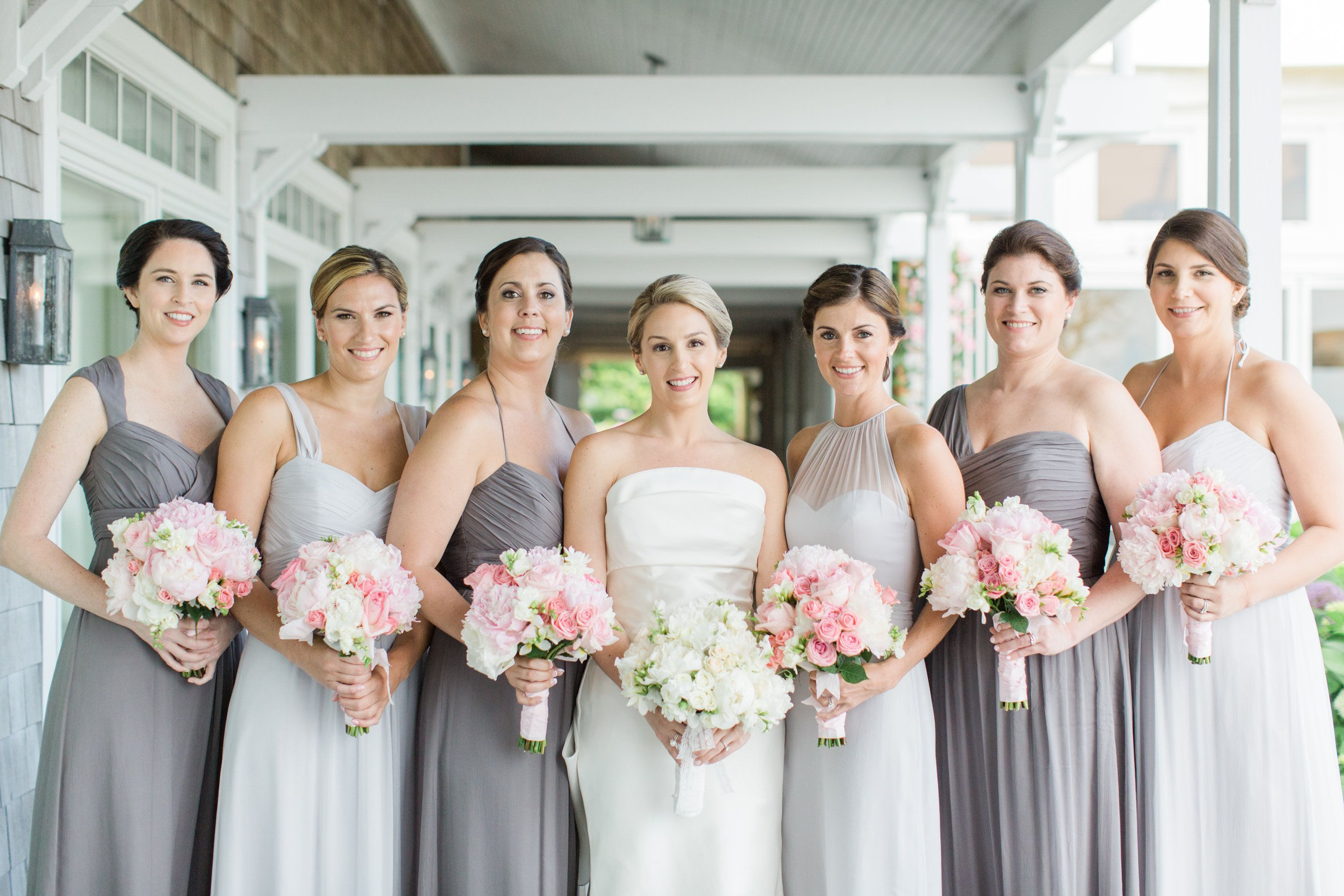ac96d4e962 amsale dove grey bridesmaids and pink bouquets  amsale  dovegrey  graphite   bridesmaids