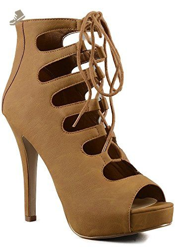 0fff531d7 Delicious Patron Women's Platform Lace Up Heels (10, Tan) - Delicious pumps  for women (*Amazon Partner-Link)