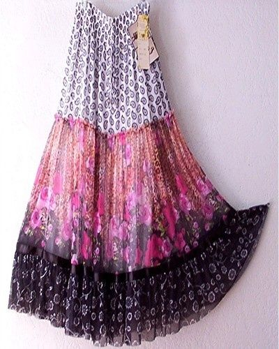 Long Black & Pink Rose Bohemian Boho Gypsy Hippie Dress Skirt by Gina 7