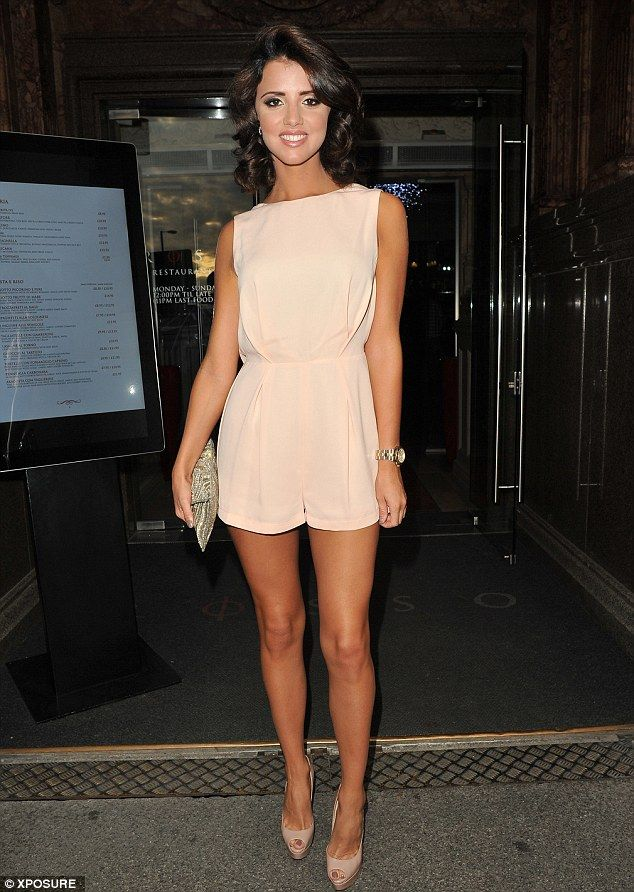 8d129e33b460 What a peach! Lucy Mecklenburgh wears a pale pink playsuit for a ...
