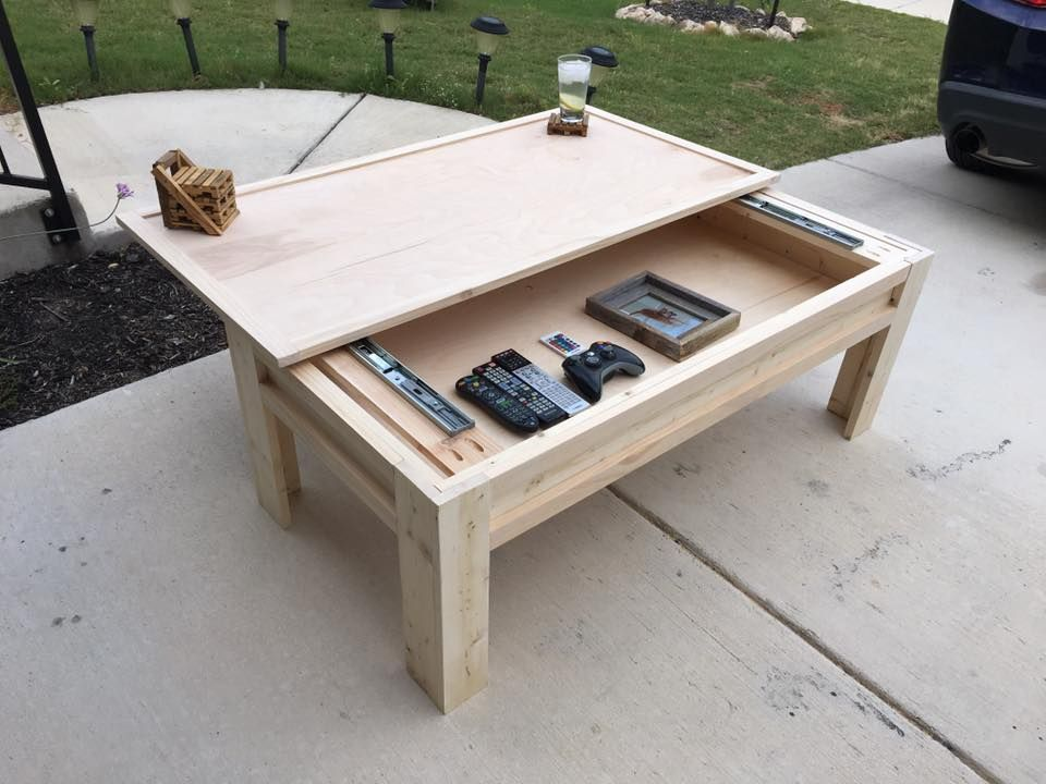 Made A Coffee Table With A Sliding Top In 2019 Decorating